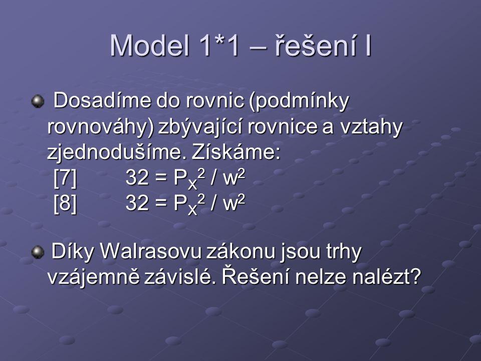 Model 1*1 – řešení I Dosadíme do rovnic (podmínky rovnováhy) zbývající rovnice a vztahy zjednodušíme. Získáme: [7]32 = P X 2 / w 2 [8]32 = P X 2 / w 2