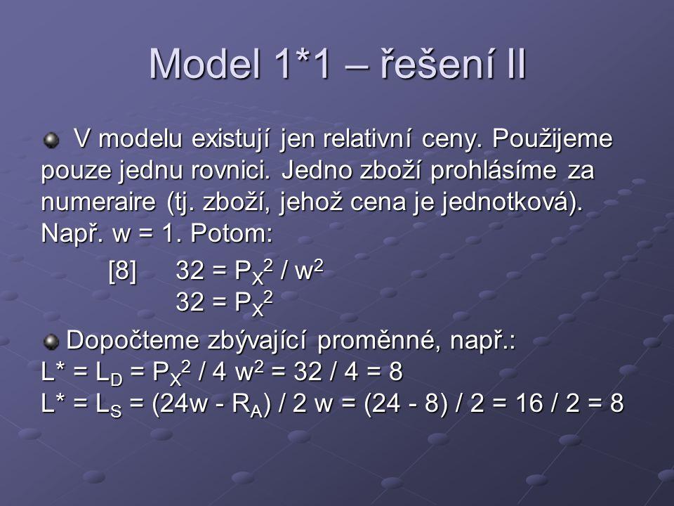 Model 1*1 – řešení II V modelu existují jen relativní ceny. Použijeme pouze jednu rovnici. Jedno zboží prohlásíme za numeraire (tj. zboží, jehož cena