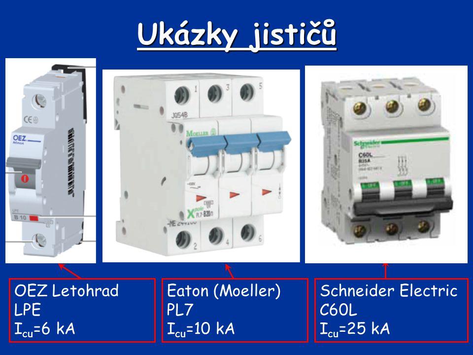 Ukázky jističů Eaton (Moeller) PL7 I cu =10 kA OEZ Letohrad LPE I cu =6 kA Schneider Electric C60L I cu =25 kA