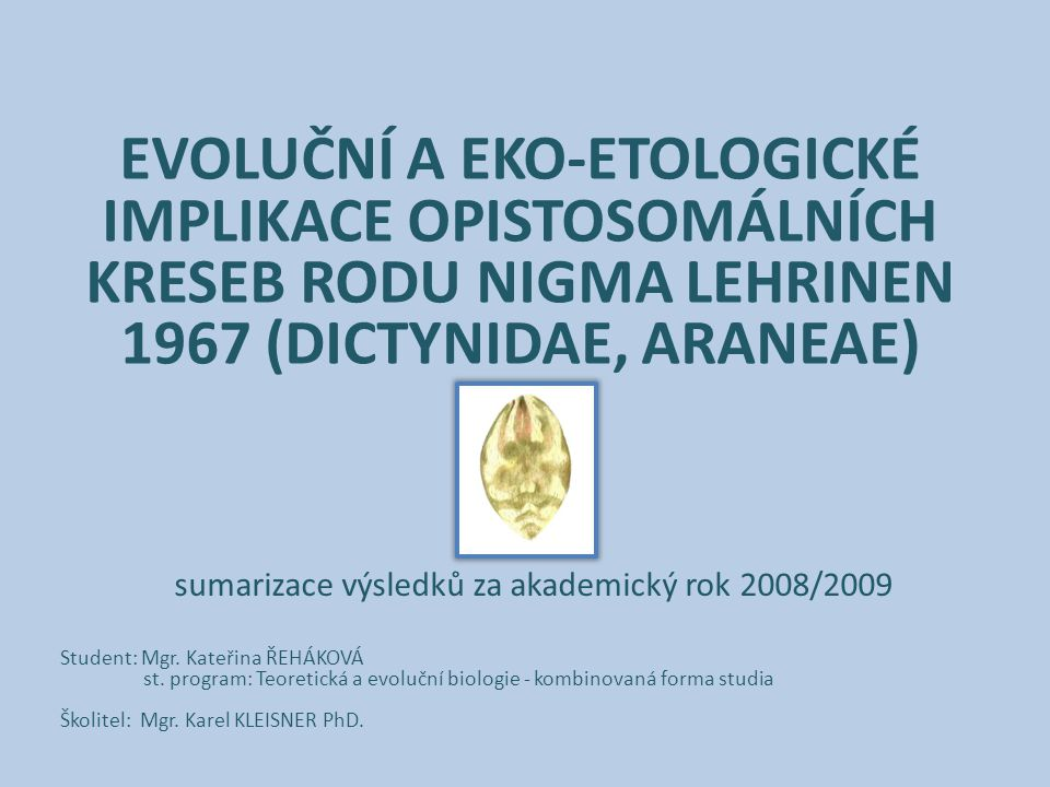 EVOLUČNÍ A EKO-ETOLOGICKÉ IMPLIKACE OPISTOSOMÁLNÍCH KRESEB RODU NIGMA LEHRINEN 1967 (DICTYNIDAE, ARANEAE) Student: Mgr. Kateřina ŘEHÁKOVÁ st. program: