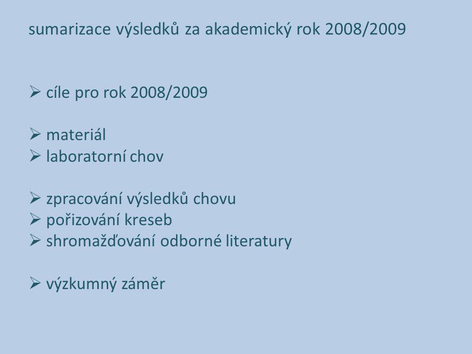 sumarizace výsledků za akademický rok 2008/2009  cíle pro rok 2008/2009  materiál  laboratorní chov  zpracování výsledků chovu  pořizování kreseb