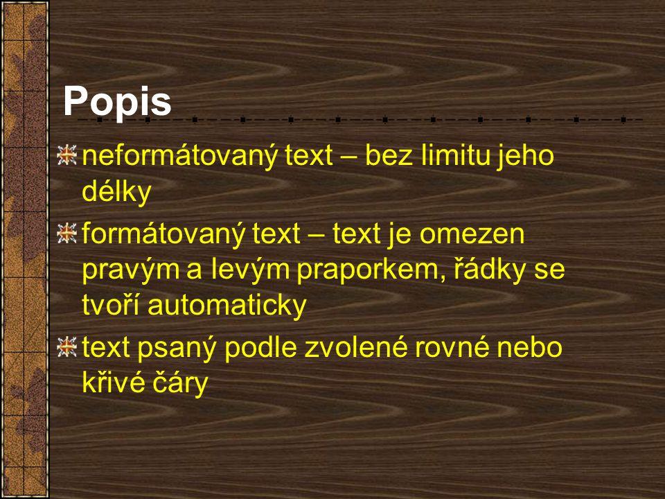 Popis neformátovaný text – bez limitu jeho délky formátovaný text – text je omezen pravým a levým praporkem, řádky se tvoří automaticky text psaný pod