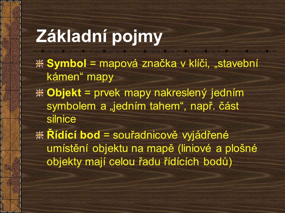 """Základní pojmy Symbol = mapová značka v klíči, """"stavební kámen"""" mapy Objekt = prvek mapy nakreslený jedním symbolem a """"jedním tahem"""", např. část silni"""