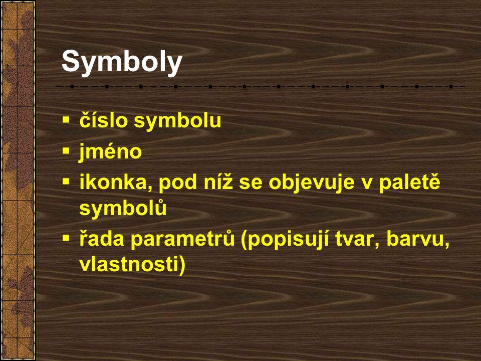 Symboly  číslo symbolu  jméno  ikonka, pod níž se objevuje v paletě symbolů  řada parametrů (popisují tvar, barvu, vlastnosti)
