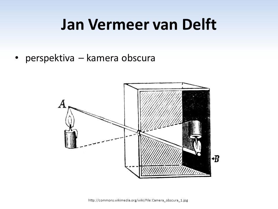 Jan Vermeer van Delft perspektiva – kamera obscura http://commons.wikimedia.org/wiki/File:Camera_obscura_1.jpg