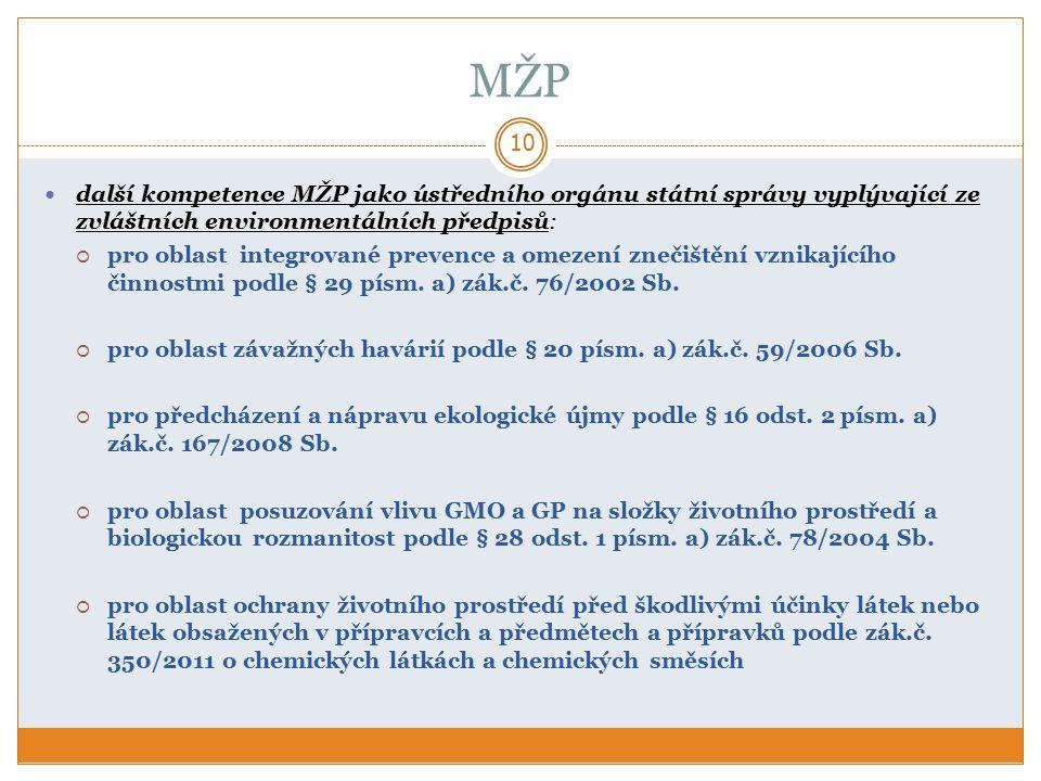 MŽP 10 další kompetence MŽP jako ústředního orgánu státní správy vyplývající ze zvláštních environmentálních předpisů:  pro oblast integrované prevence a omezení znečištění vznikajícího činnostmi podle § 29 písm.
