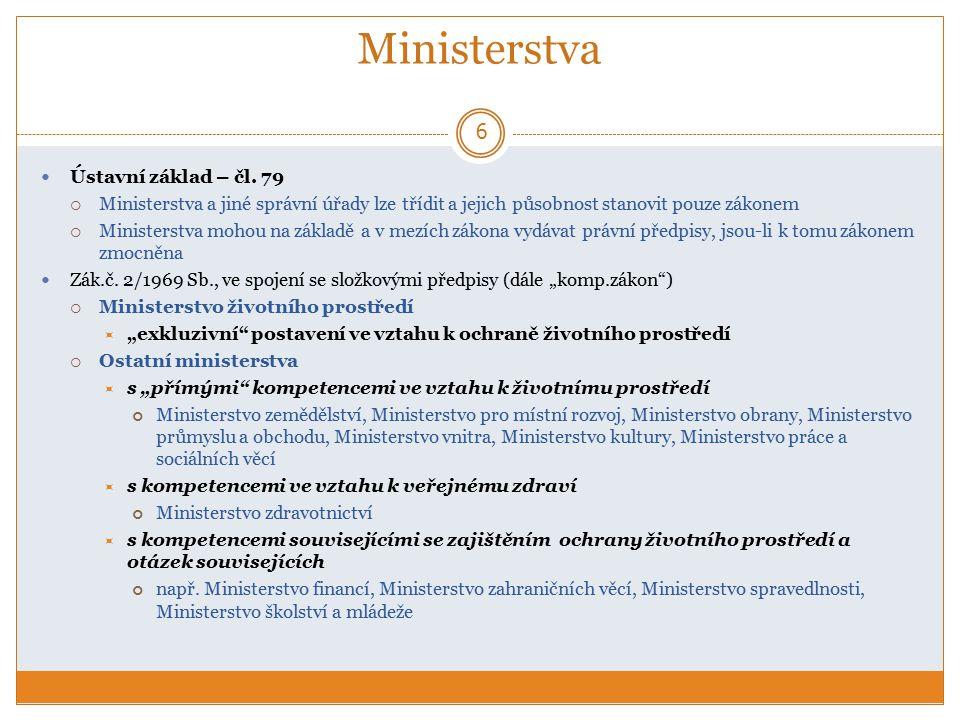 Ministerstvo ŽP (MŽP) 7 základní přehled :  orgán vrchního státní dozoru (§ 19/1 komp.z.)  ústřední orgán státní správy pro kompetence  dle § 19/2 kom.z.