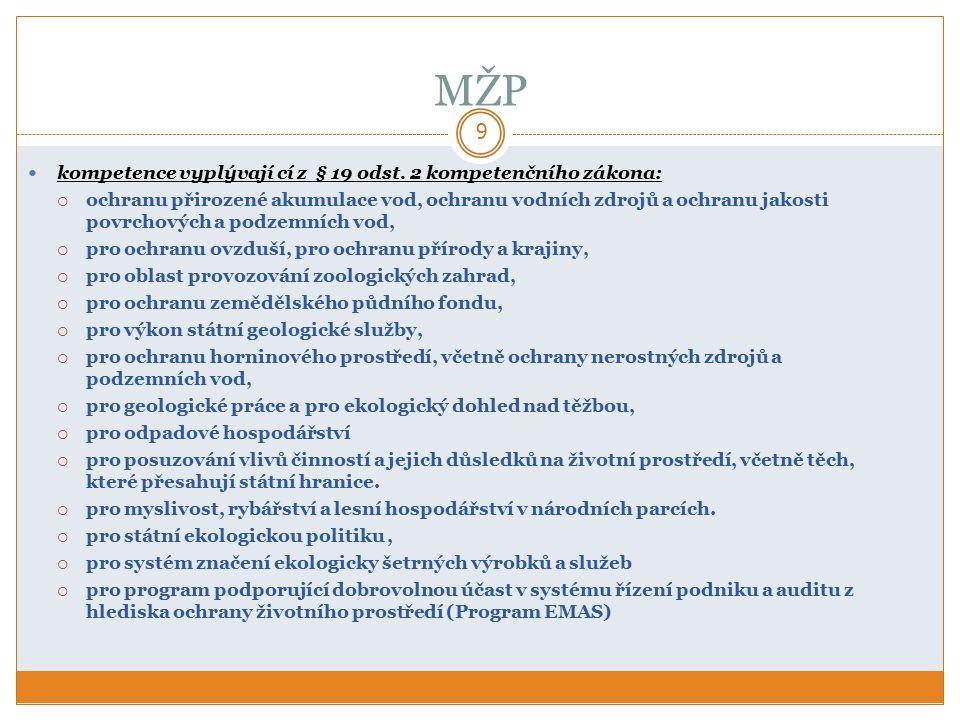MŽP 9 kompetence vyplývají cí z § 19 odst.