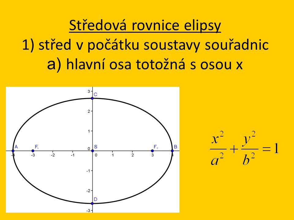 Středová rovnice elipsy 1) střed v počátku soustavy souřadnic a) hlavní osa totožná s osou x