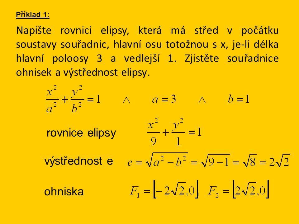 Napište rovnici elipsy, která má střed v počátku soustavy souřadnic, hlavní osu totožnou s x, je-li délka hlavní poloosy 3 a vedlejší 1.
