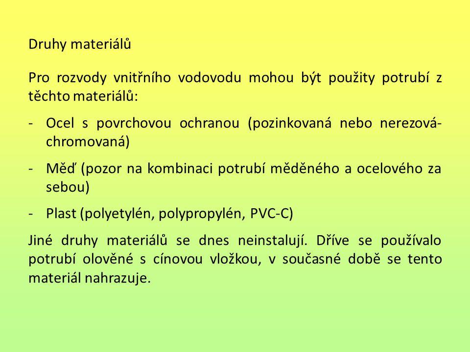 Druhy materiálů Pro rozvody vnitřního vodovodu mohou být použity potrubí z těchto materiálů: -Ocel s povrchovou ochranou (pozinkovaná nebo nerezová- chromovaná) -Měď (pozor na kombinaci potrubí měděného a ocelového za sebou) -Plast (polyetylén, polypropylén, PVC-C) Jiné druhy materiálů se dnes neinstalují.