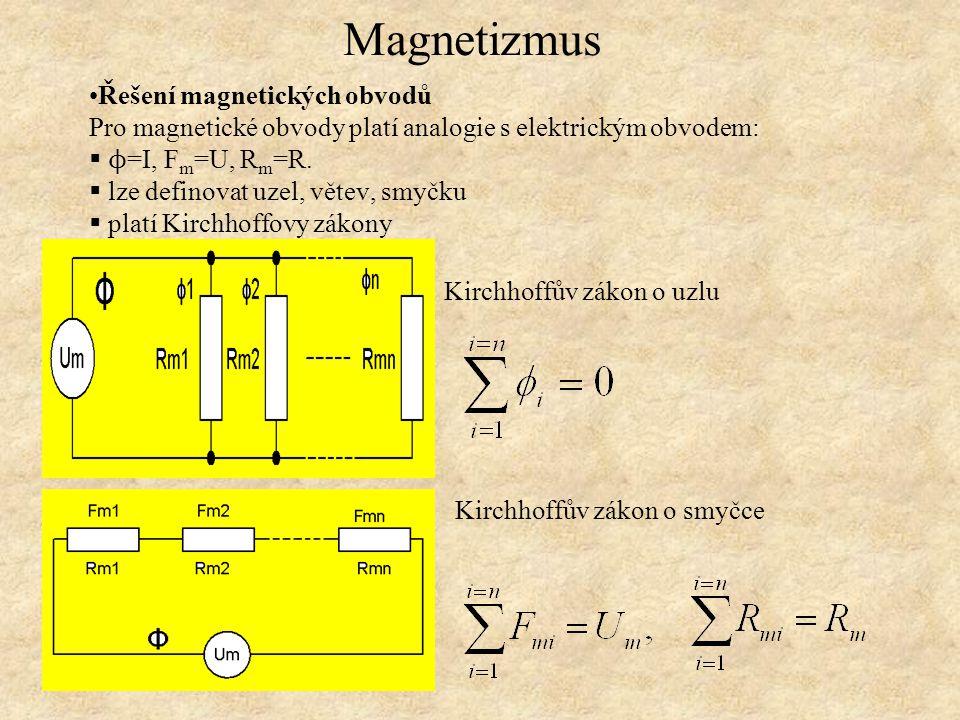 Magnetizmus Řešení magnetických obvodů Pro magnetické obvody platí analogie s elektrickým obvodem:  ϕ =I, F m =U, R m =R.  lze definovat uzel, větev