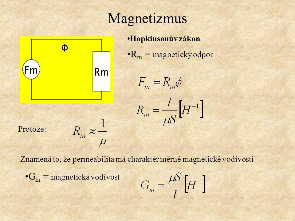 Magnetizmus Hopkinsonův zákon R m = magnetický odpor Protože: Znamená to, že permeabilita má charakter měrné magnetické vodivosti G m = magnetická vod
