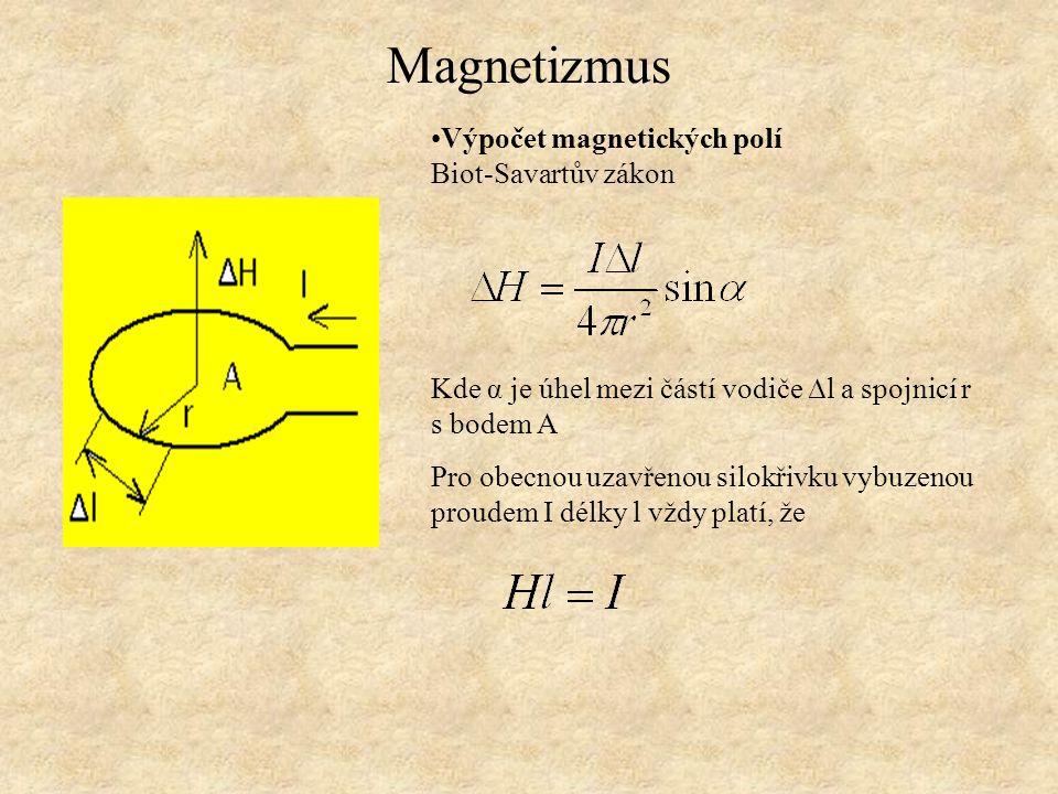 Magnetizmus Výpočet magnetických polí Biot-Savartův zákon Kde α je úhel mezi částí vodiče ∆l a spojnicí r s bodem A Pro obecnou uzavřenou silokřivku v