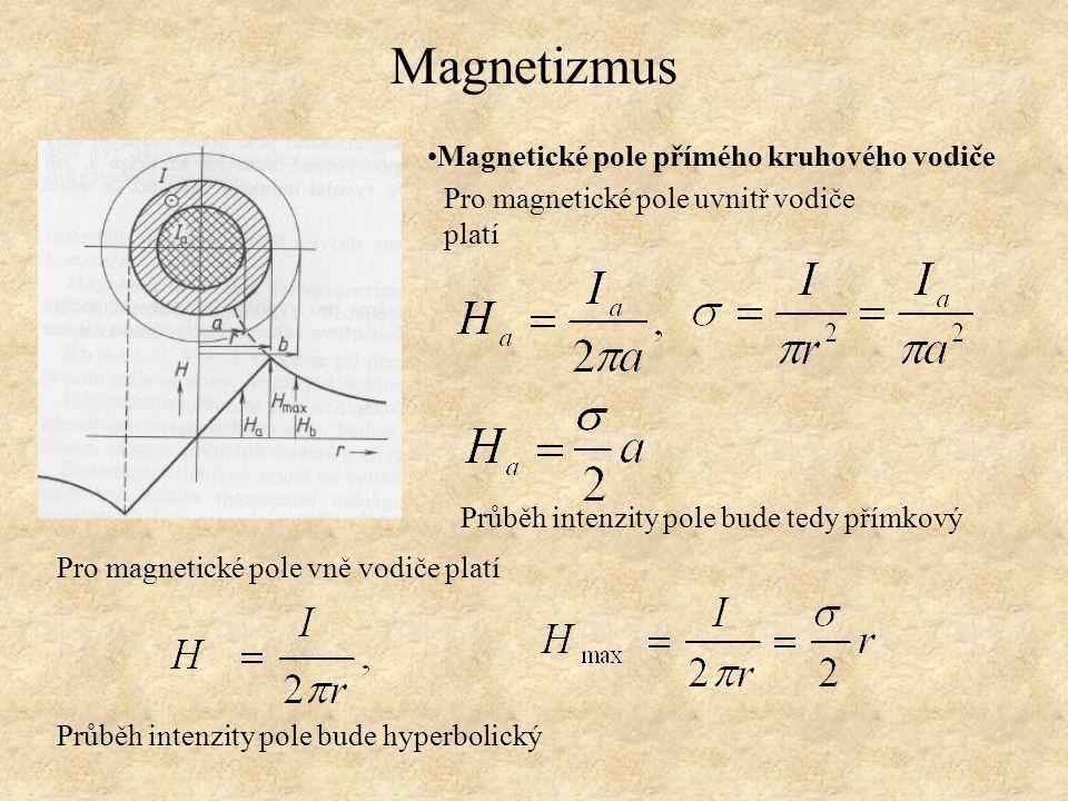 Magnetizmus Pro magnetické pole uvnitř vodiče platí Magnetické pole přímého kruhového vodiče Průběh intenzity pole bude tedy přímkový Pro magnetické p