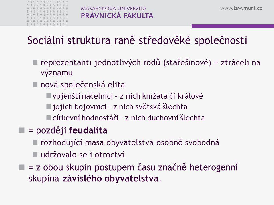 www.law.muni.cz Sociální struktura raně středověké společnosti reprezentanti jednotlivých rodů (stařešinové) = ztráceli na významu nová společenská el