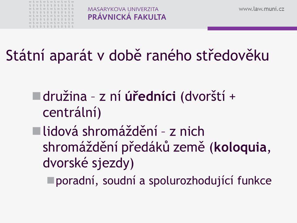 www.law.muni.cz Státní aparát v době raného středověku družina – z ní úředníci (dvorští + centrální) lidová shromáždění – z nich shromáždění předáků z