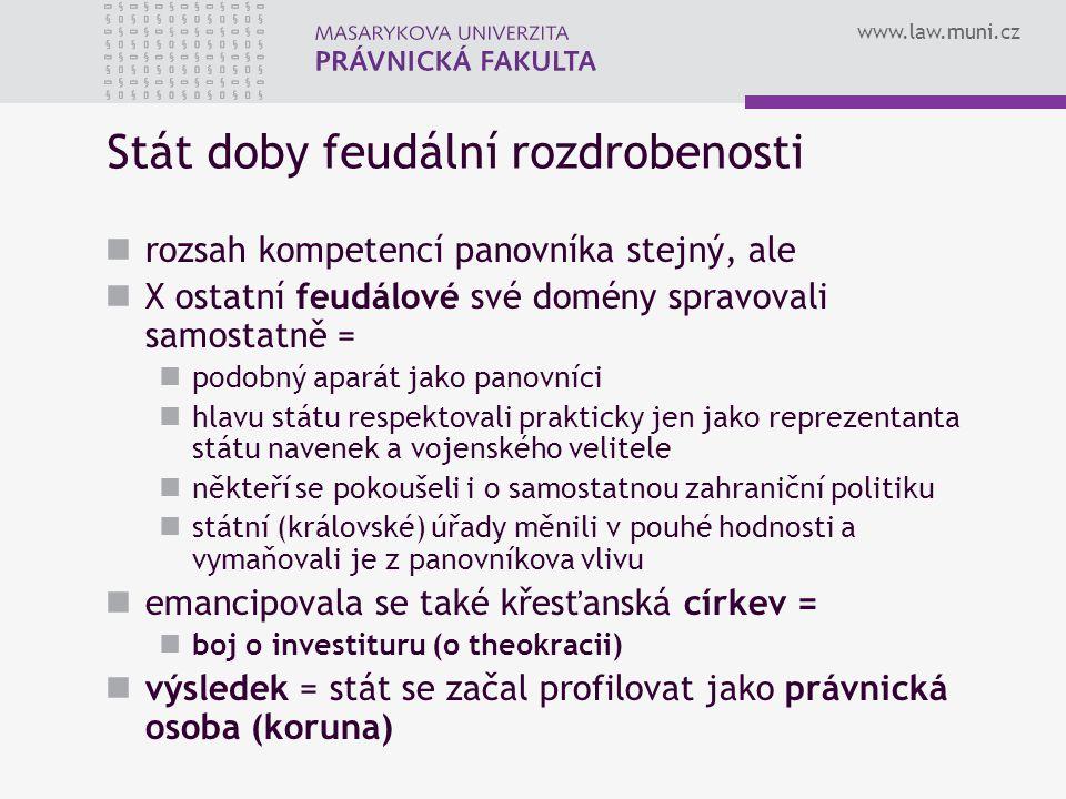 www.law.muni.cz Stát doby feudální rozdrobenosti rozsah kompetencí panovníka stejný, ale X ostatní feudálové své domény spravovali samostatně = podobn