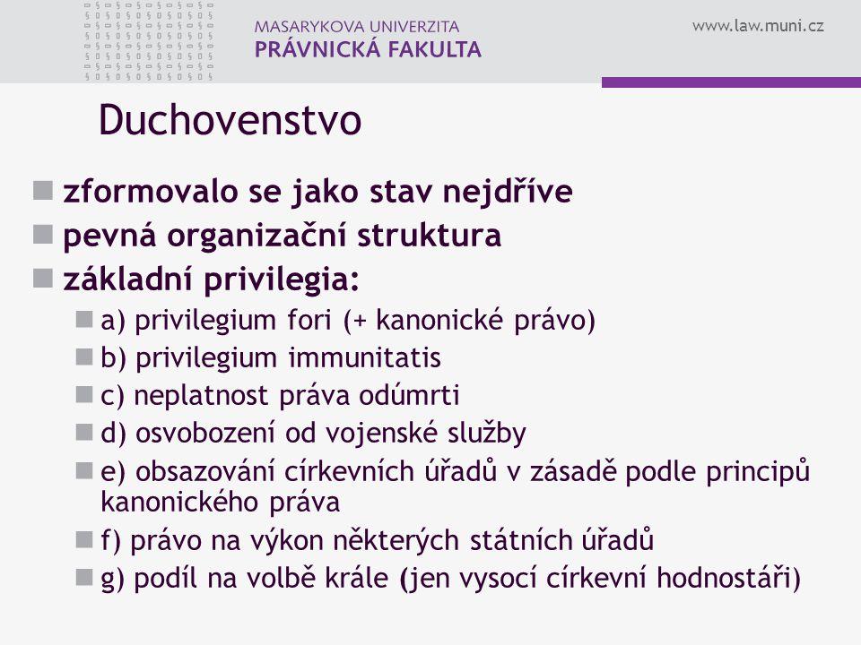 www.law.muni.cz Duchovenstvo zformovalo se jako stav nejdříve pevná organizační struktura základní privilegia: a) privilegium fori (+ kanonické právo)
