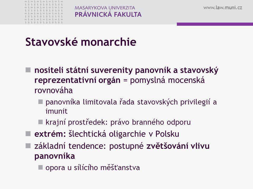 www.law.muni.cz Stavovské monarchie nositeli státní suverenity panovník a stavovský reprezentativní orgán = pomyslná mocenská rovnováha panovníka limi