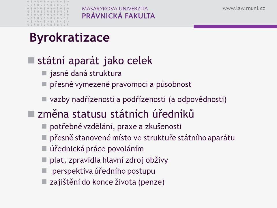 www.law.muni.cz Byrokratizace státní aparát jako celek jasně daná struktura přesně vymezené pravomoci a působnost vazby nadřízenosti a podřízenosti (a