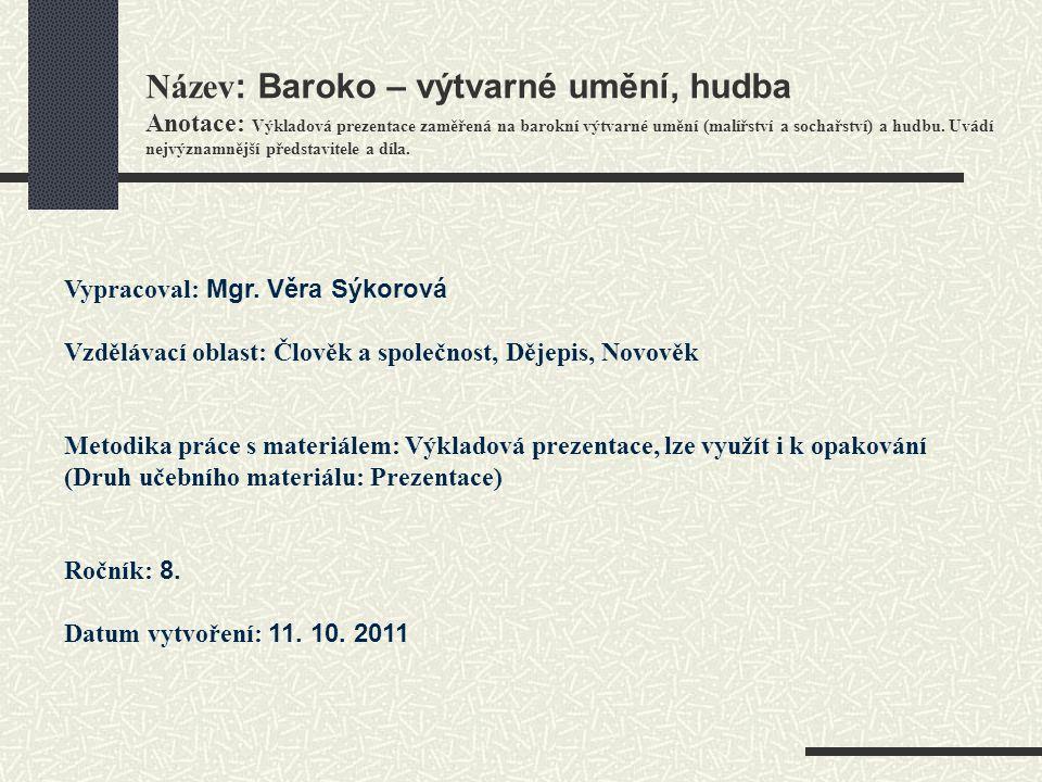 BAROKO Baroko – výtvarné umění hudba