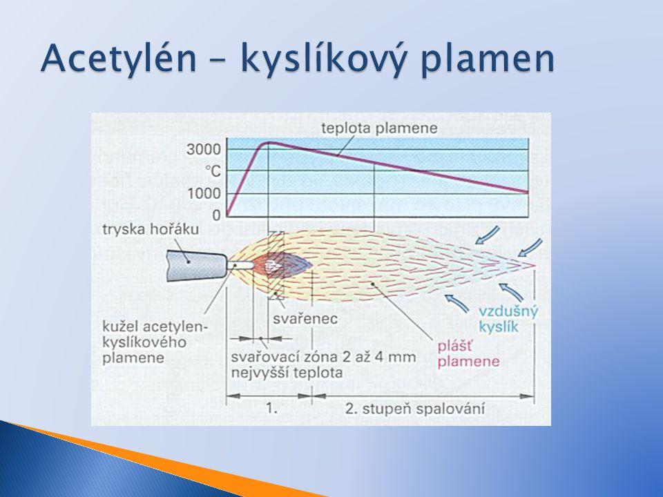  Acetylén s kyslíkem se mísí v poměru 1:1  1.
