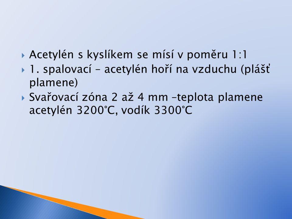  Acetylén s kyslíkem se mísí v poměru 1:1  1. spalovací – acetylén hoří na vzduchu (plášť plamene)  Svařovací zóna 2 až 4 mm –teplota plamene acety
