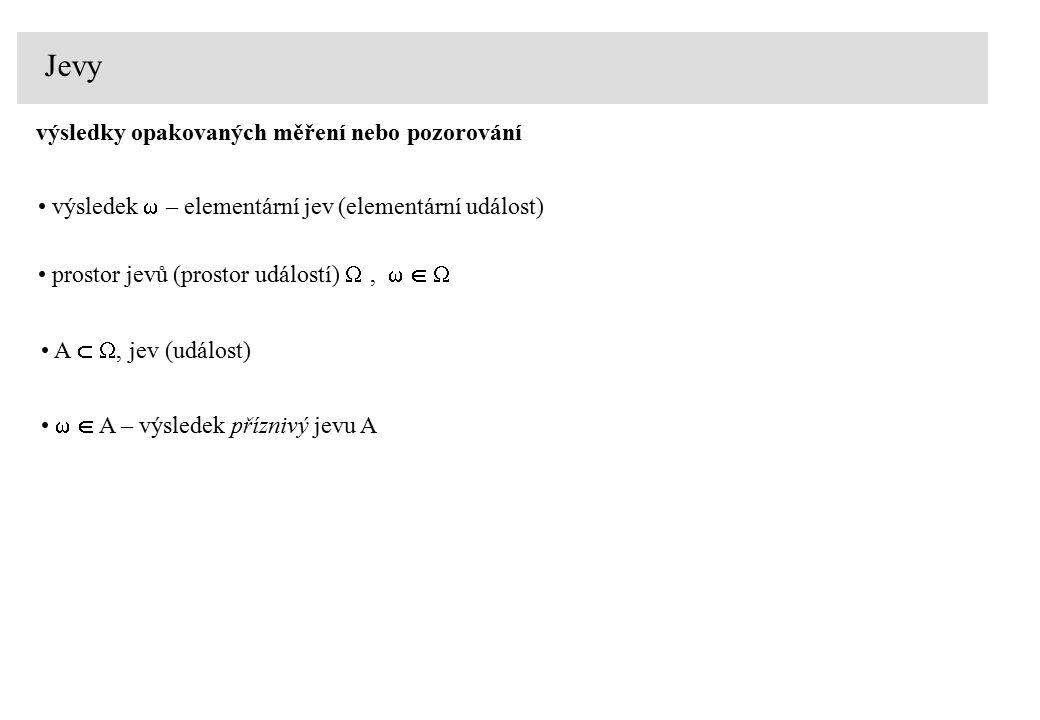 Jevy výsledky opakovaných měření nebo pozorování výsledek  – elementární jev (elementární událost) prostor jevů (prostor událostí) ,  A  , jev (událost)   A – výsledek příznivý jevu A