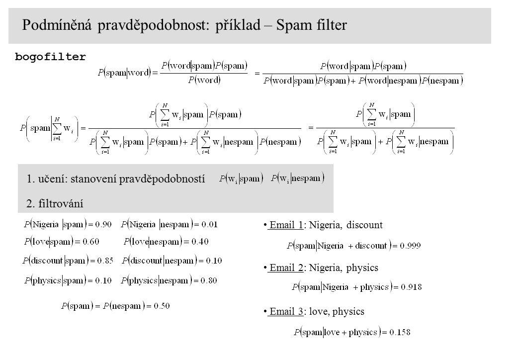 1. učení: stanovení pravděpodobností Podmíněná pravděpodobnost: příklad – Spam filter bogofilter 2.
