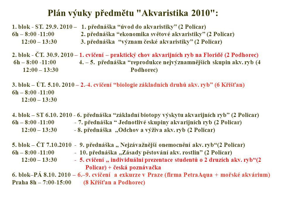 Plán výuky předmětu Akvaristika 2010 : 1. blok - ST.