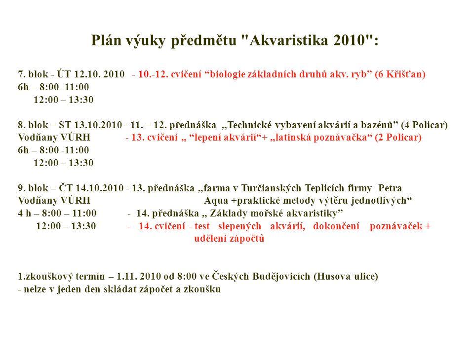 Plán výuky předmětu Akvaristika 2010 : 7. blok - ÚT 12.10.