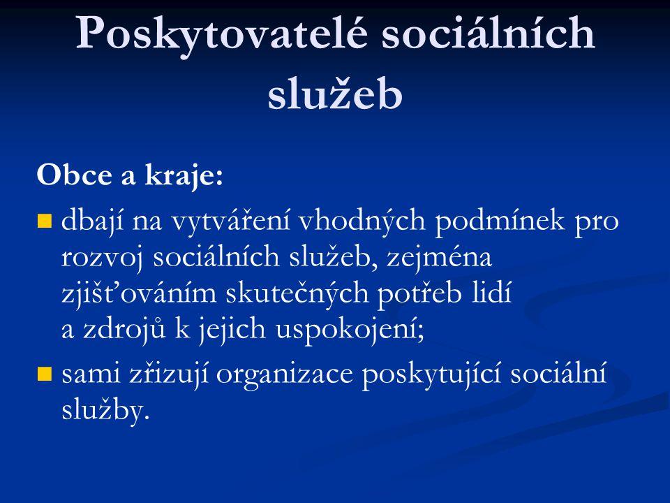 Poskytovatelé sociálních služeb Obce a kraje: dbají na vytváření vhodných podmínek pro rozvoj sociálních služeb, zejména zjišťováním skutečných potřeb lidí a zdrojů k jejich uspokojení; sami zřizují organizace poskytující sociální služby.