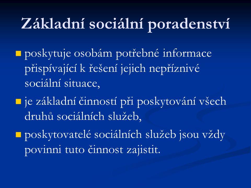Základní sociální poradenství poskytuje osobám potřebné informace přispívající k řešení jejich nepříznivé sociální situace, je základní činností při poskytování všech druhů sociálních služeb, poskytovatelé sociálních služeb jsou vždy povinni tuto činnost zajistit.