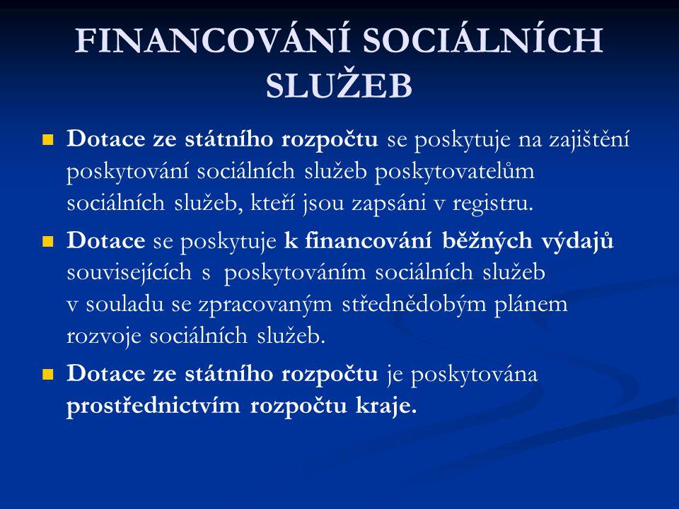 Dotace ze státního rozpočtu se poskytuje na zajištění poskytování sociálních služeb poskytovatelům sociálních služeb, kteří jsou zapsáni v registru.