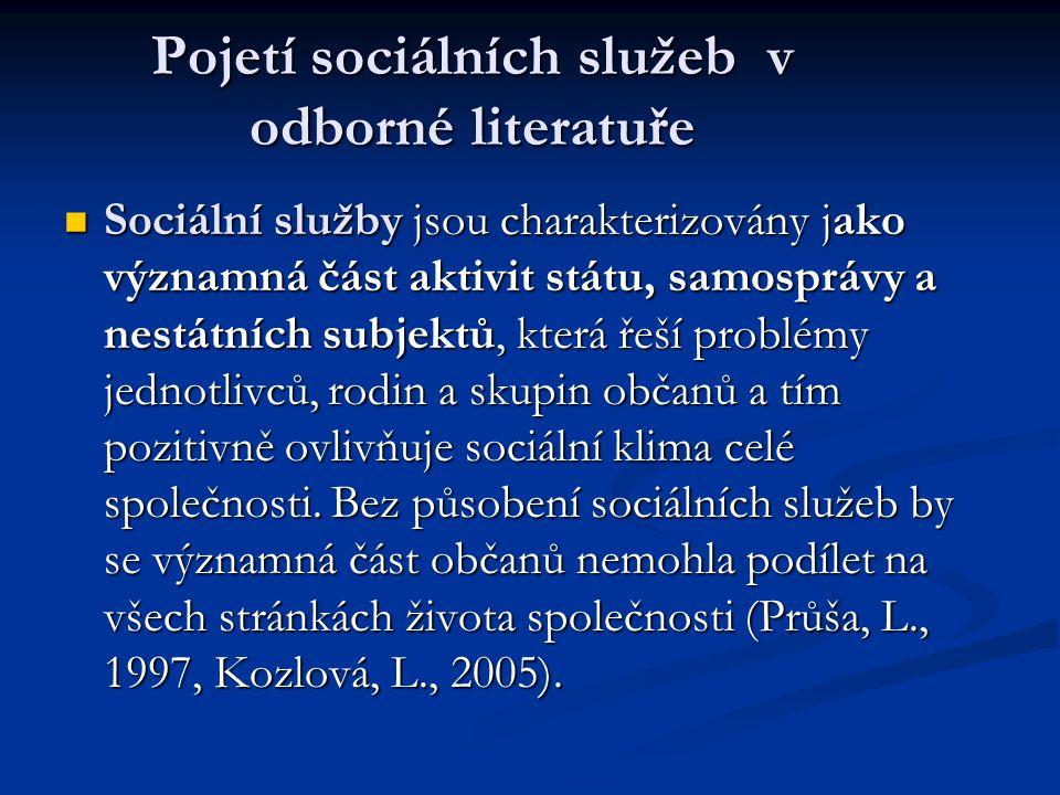 Pojetí sociálních služeb v odborné literatuře Legislativně jsou sociální služby vymezovány jako součást tzv.