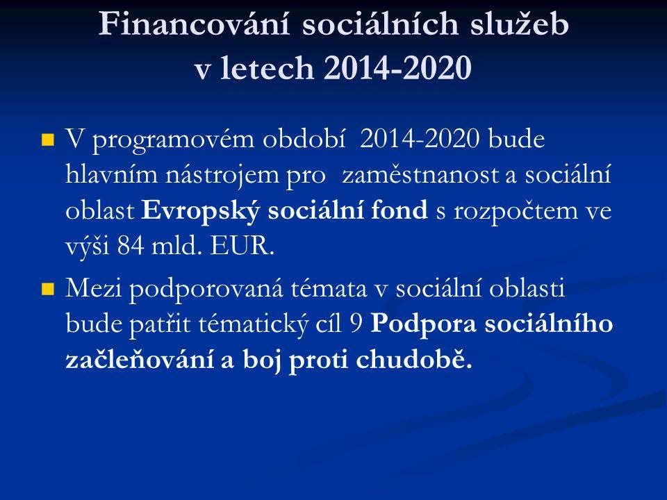 Financování sociálních služeb v letech 2014-2020 V programovém období 2014-2020 bude hlavním nástrojem pro zaměstnanost a sociální oblast Evropský sociální fond s rozpočtem ve výši 84 mld.