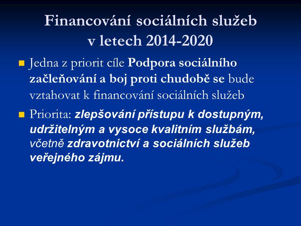 Financování sociálních služeb v letech 2014-2020 Jedna z priorit cíle Podpora sociálního začleňování a boj proti chudobě se bude vztahovat k financování sociálních služeb Priorita: zlepšování přístupu k dostupným, udržitelným a vysoce kvalitním službám, včetně zdravotnictví a sociálních služeb veřejného zájmu.
