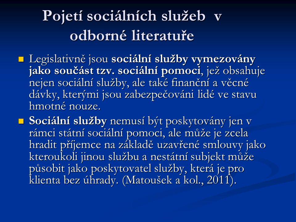 Sociální služby v ČR upravuje zákon č. 108/2006 Sb. o sociálních službách s účinností od 1.1. 2007.