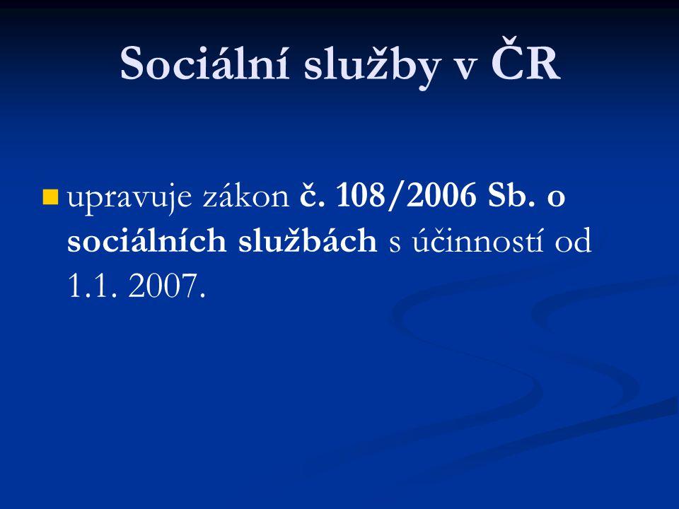 Formy poskytování sociálních služeb Sociální služby se poskytují jako: služby pobytové, služby ambulantní, služby terénní.