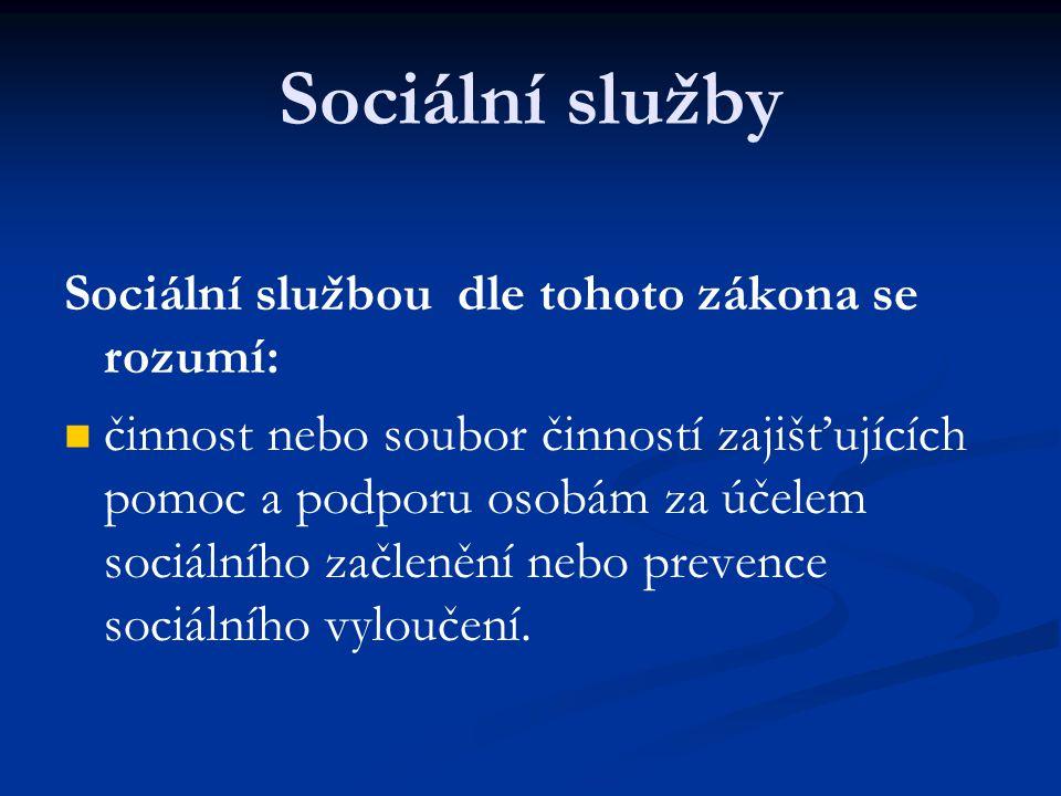 Sociální služby Sociální službou dle tohoto zákona se rozumí: činnost nebo soubor činností zajišťujících pomoc a podporu osobám za účelem sociálního začlenění nebo prevence sociálního vyloučení.