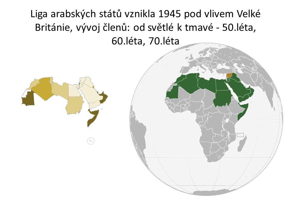 Liga arabských států vznikla 1945 pod vlivem Velké Británie, vývoj členů: od světlé k tmavé - 50.léta, 60.léta, 70.léta