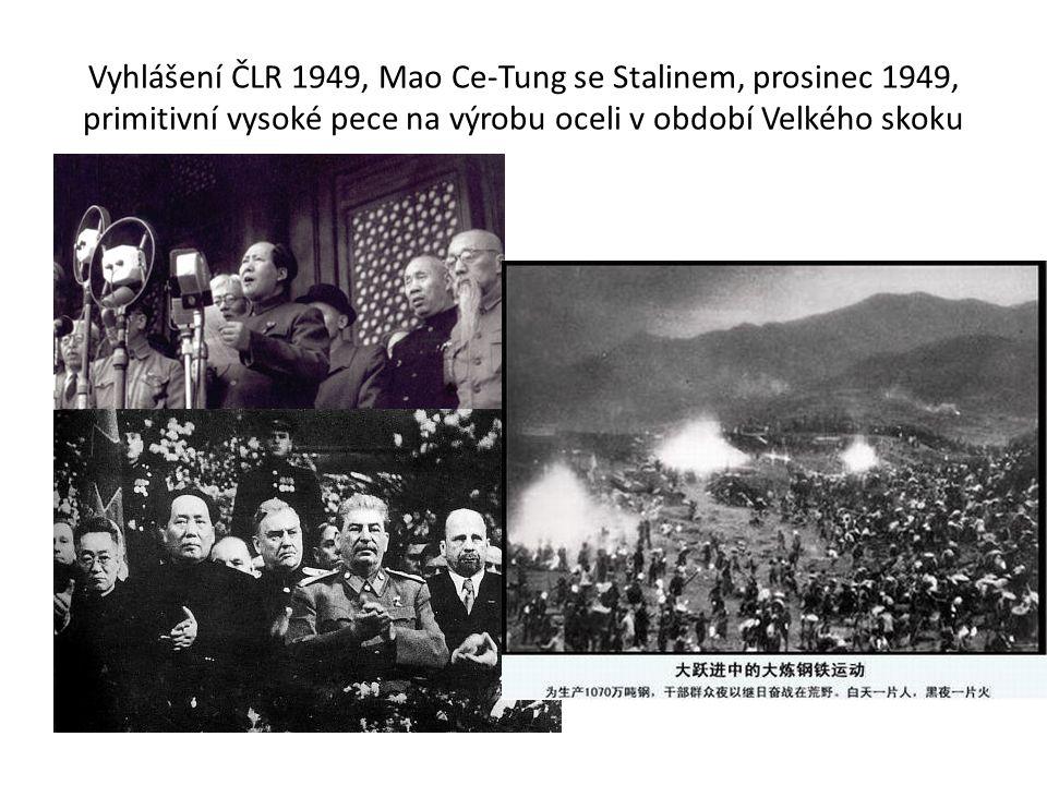 Vyhlášení ČLR 1949, Mao Ce-Tung se Stalinem, prosinec 1949, primitivní vysoké pece na výrobu oceli v období Velkého skoku