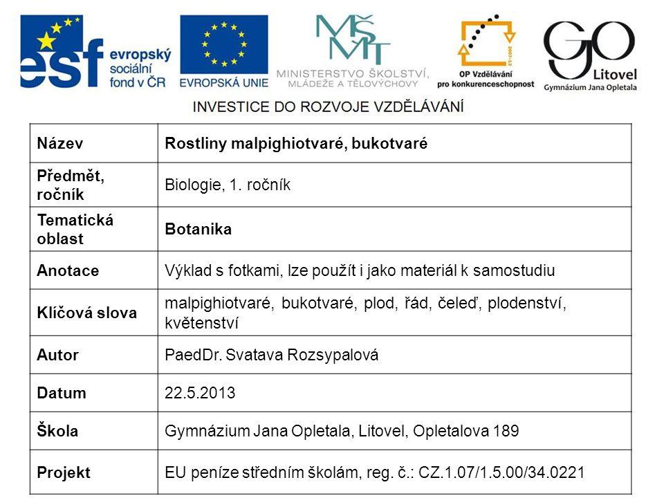 NázevRostliny malpighiotvaré, bukotvaré Předmět, ročník Biologie, 1.