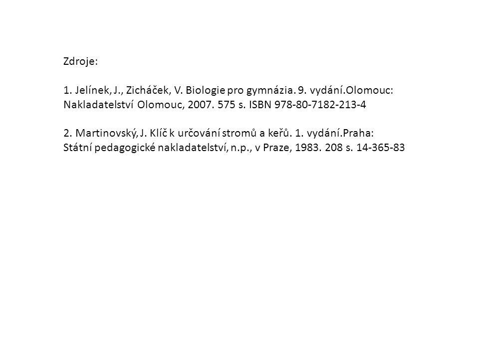Zdroje: 1. Jelínek, J., Zicháček, V. Biologie pro gymnázia. 9. vydání.Olomouc: Nakladatelství Olomouc, 2007. 575 s. ISBN 978-80-7182-213-4 2. Martinov