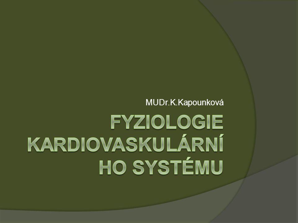 Krevní oběh  velký tělní : 84% ( systémový)  malý (plícní): 9%  Srdce : 7% Celkový objem krve :4,5 – 5,5 l žíly, pravé srdce a malý oběh = nízkotlaký systém ( rezervoár ) arterie = vysokotlaký systém ( zásobovací funkce) 84% systémový oběh Průtok krve : Mozek : 13% MV Myokard: 5% MV – nesmí poklesnout ( selhání oběhu) – v zatížení až 5x více Ledviny : 20 – 25% MV Kosterní svaly: 21 -25% MV- v zatížení až 20 x více Trávicí ústrojí + játra ( období trávení) : 24 -30% Kůže ( v klidu ) : 10% Kostra : 3%