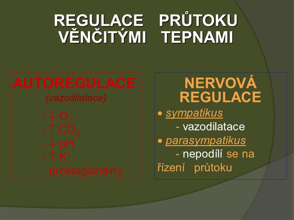 REGULACE PRŮTOKU VĚNČITÝMI TEPNAMI AUTOREGULACE (vazodilatace) -  O 2 -  CO 2 -  pH -  K + - prostaglandiny NERVOVÁ REGULACE  sympatikus - vazodilatace  parasympatikus - nepodílí se na řízení průtoku