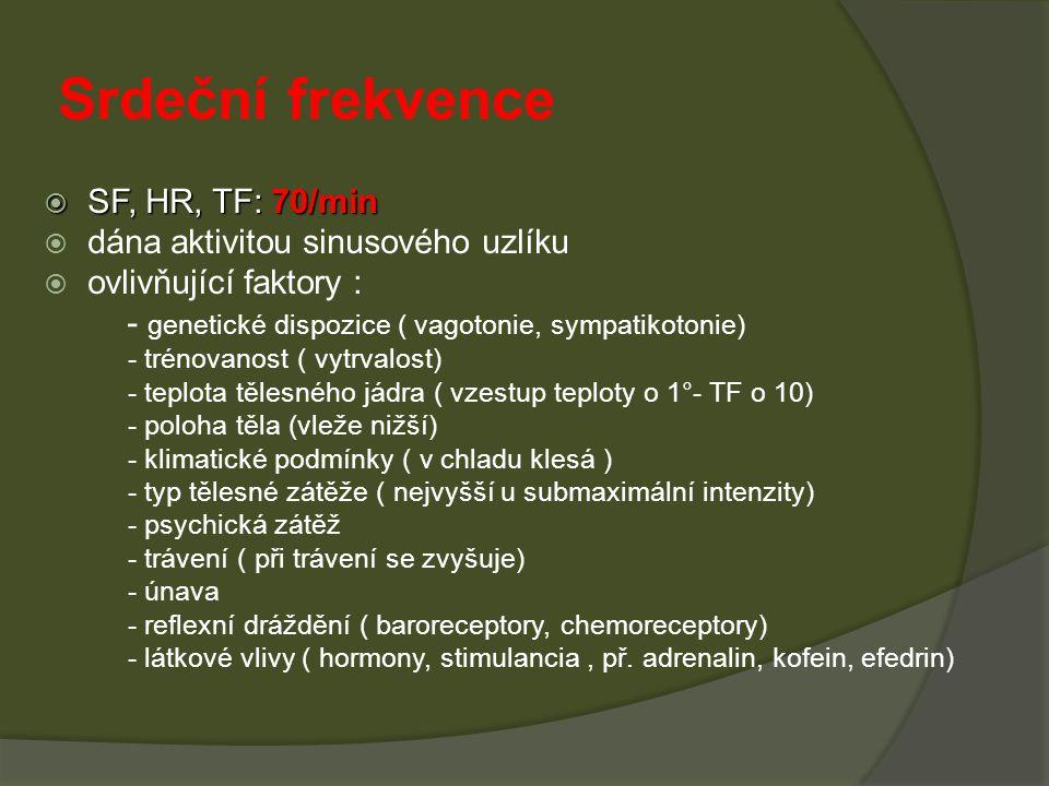 Srdeční frekvence  SF, HR, TF: 70/min  dána aktivitou sinusového uzlíku  ovlivňující faktory : - genetické dispozice ( vagotonie, sympatikotonie) -
