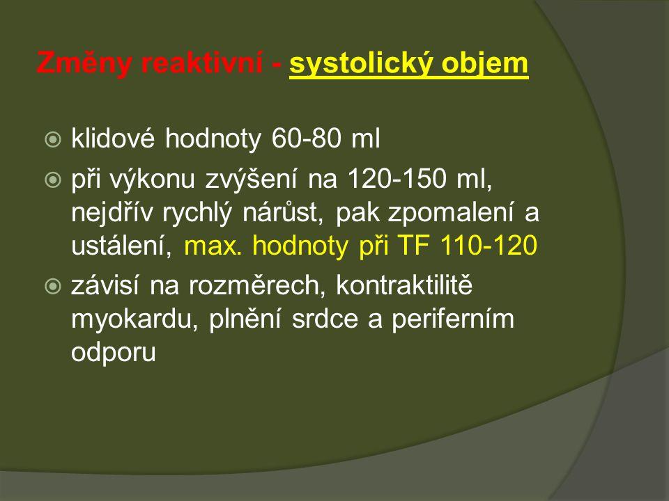 Změny reaktivní - systolický objem  klidové hodnoty 60-80 ml  při výkonu zvýšení na 120-150 ml, nejdřív rychlý nárůst, pak zpomalení a ustálení, max.