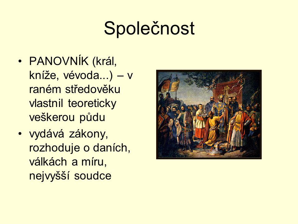 Společnost PANOVNÍK (král, kníže, vévoda...) – v raném středověku vlastnil teoreticky veškerou půdu vydává zákony, rozhoduje o daních, válkách a míru,